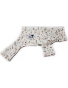 Pijama para perro de felpa beige con motivos de conejos en tonos tostados
