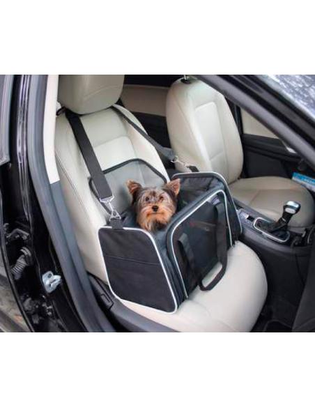 bolso transporte perro gris