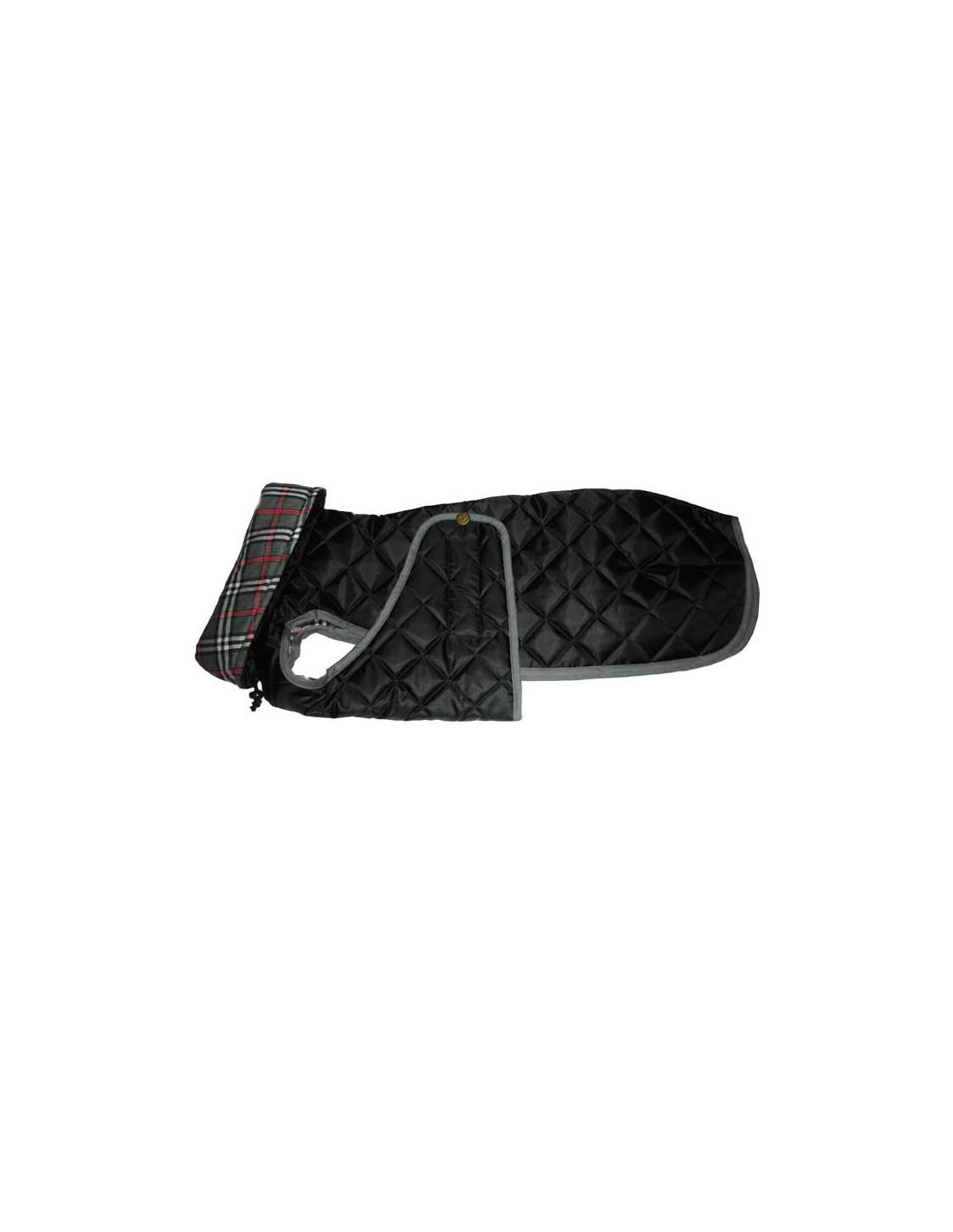 Ropa para perro - abrigo Impermeable Acolchado Galgo color negro