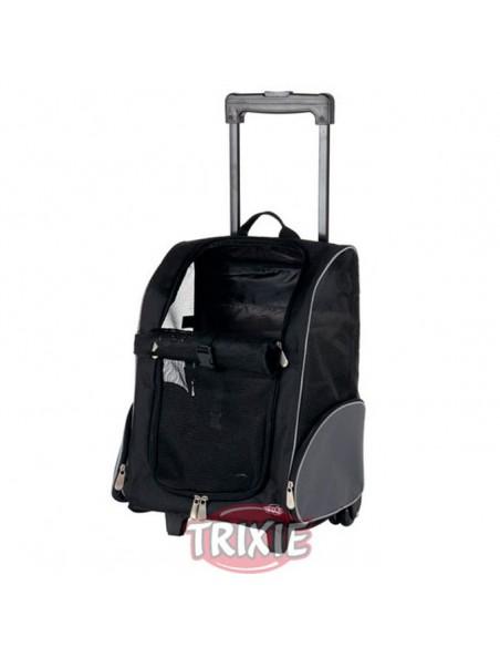 Trolley-Mochila para transporte de perros en nylon negro