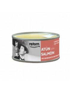 Lata para gato, atún con salmón porcentaje mínimo de atún 40 por ciento y salmón 8 por ciento