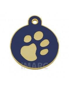 Placa identificativa para perro, redonda con huella grabada