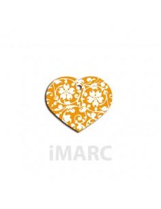 Placa identificativa para perro, corazón con flores en colores