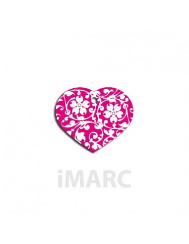 Placa identificativa para perro, corazón con flores en colores pequeña