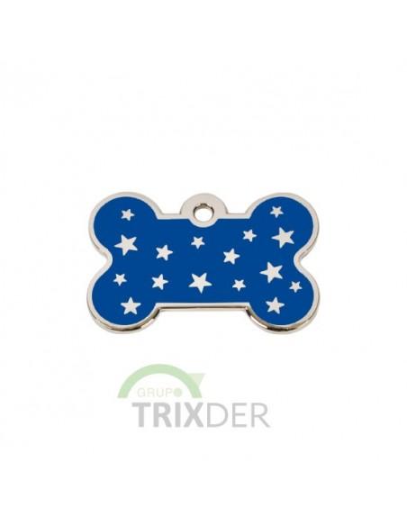 Placa identificativa para perro, hueso con estrellas grabadas