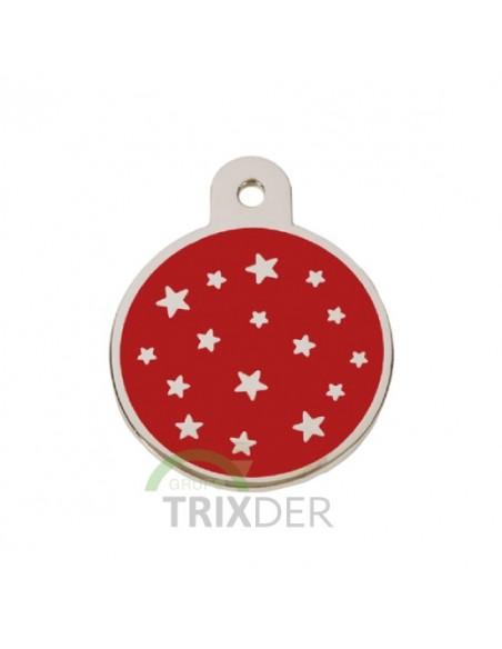 Placa identificativa para perro, redonda con estrellas grabadas