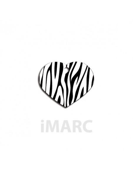 Placa identificativa para perro,  corazón decorado cebras