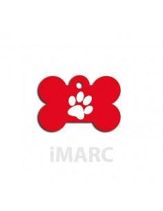 placa identificativa perro hueso huella roja