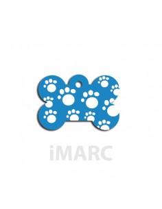 placa identificativa perro hueso huellas azul