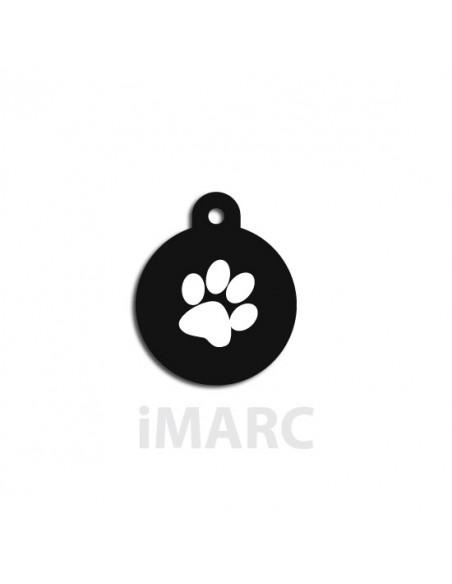 Placa identificativa para perro, redonda negra decorado huella