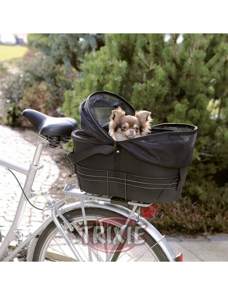 Cesta para llevar perro en bicicleta, en nylon negro
