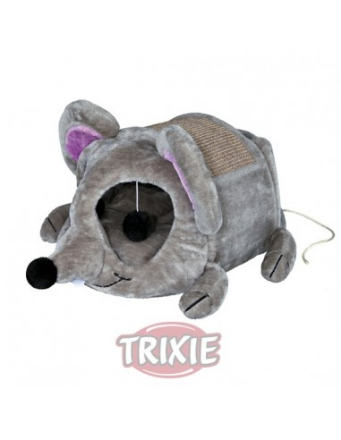 Rascador para gatos cueva de peluche color gris