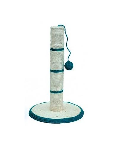 Rascador para gatos poste cuerda blanco y azul