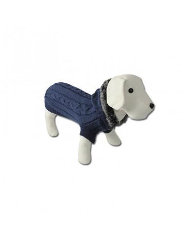 Jersey para perro punto con capucha y cuello azul