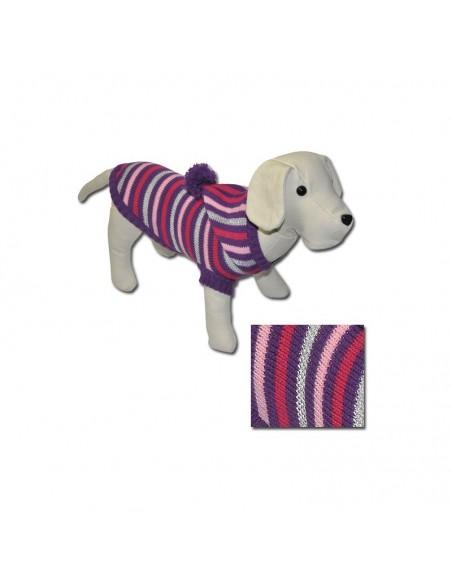 Jersey para perro punto con capucha en tonos malvas