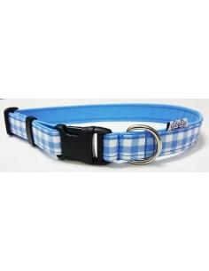 Collar para perro loneta de cuadros azul y blanco