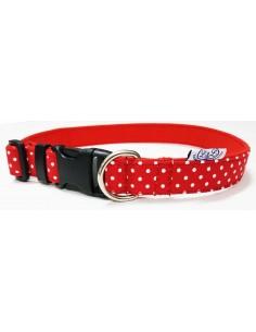 Collar para perro loneta roja con lunares blancos