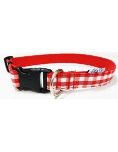 Collar para perro loneta de cuadros rojos y blancos