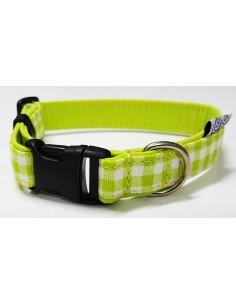 Collar para perro loneta de cuadros verdes y blancos