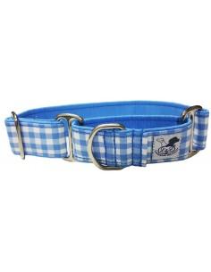Collar para perro grande en tela loneta muy resistente cuadros azul y blancos