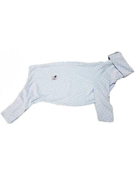Pijama para perro de felpa, azul celeste con estrellas