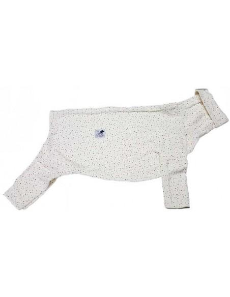 Pijama para perro de felpa, con lunares de colores
