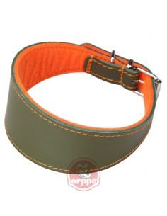 Collar para galgo piel flor ancho forrado naranja