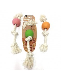 Juguete para perro pelota caucho natural con cuerda