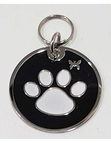 Accesorios para perro chapa redonda identificativa con huella de perro