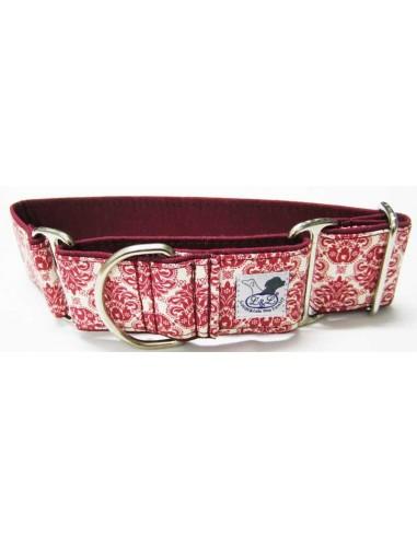 Collar para galgo en tela loneta muy resistente estampado rojo