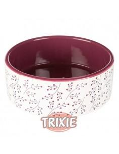 Comedero para perro ceramico en color blanco y morado