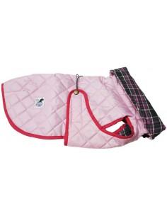 Impermeables para perros modelo Tortuga acolchado con cuello rosa