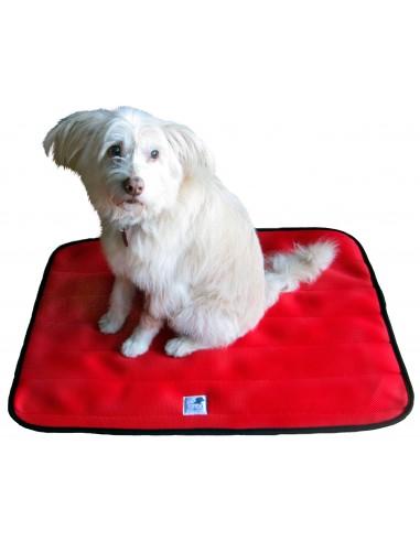 cama terapeutica especial para perros exclusiva de lucas y lola de color rojo