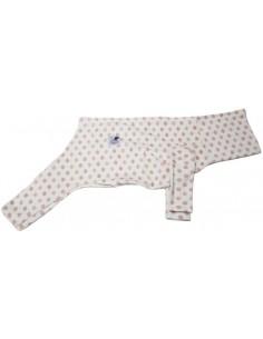 Pijama para piccolo de felpa beige con círculos rojos