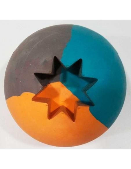 Juguetes para perros pelota maciza caucho natural multicolor con orificio para recompensa
