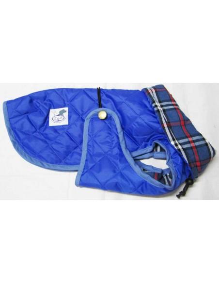 Impermeables para perros modelo Tortuga acolchado con cuello azul