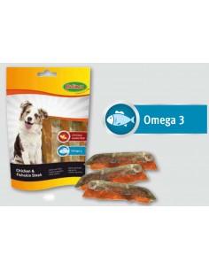Snack para perro tiras de pollo y piel de bacalao de Bubimex